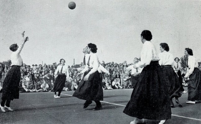 A re-enactment from 1949 | From Netball magazine December 1952
