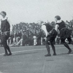Playing netball in 1936 - a re-enactment   Netball magazine 1952