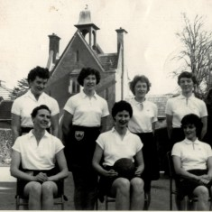 The England team which played The Rest 1961. Anne Stephenson back left, Jean Robinson and Annette Cairncross front left and centre