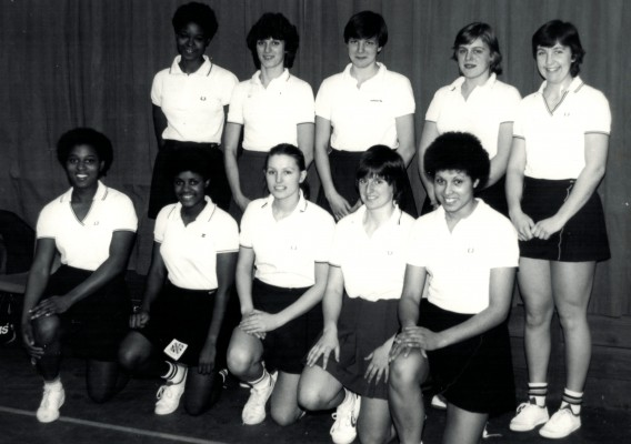 England Under 21 Squad 1982/1983 Back Jess Parkes, D Cox, Kendra Lowe, Sally Williams, Rowan Edbrooke Front Desire Mahoney, Sonia Jessop, Christine Dalglish, E Cordukes, Sharon Bent