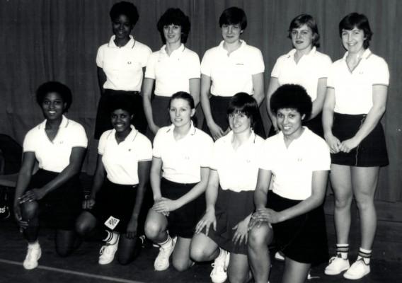 England Under 21 Squad 1982/1983 Back Jess Parkes, D Cox, Kendra Lowe, Sally Williams, Rowan Edbrooke Front Desire Mahoney, Sonia Jessop, Christine Dalglish, E Cordukes, Sharon Bent