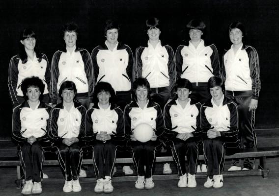 England 1983 WT Singapore Squad Back Denise Hunter, Maddy Dwan, Chris Maylor, Gill Bickerstaff, Kendra Lowe, Rowan Edbrooke Front Kim Lambden, Gill White, Helen Fradley, Jillean Hipsey, Sue Keal, Collette Thomson
