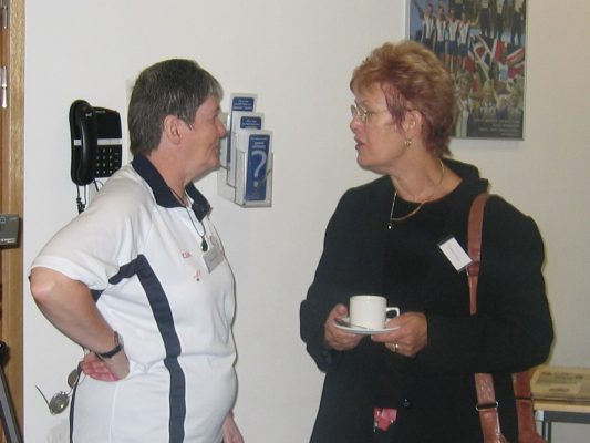 Sheelagh Redpath and Gerry Cornwall having a chat