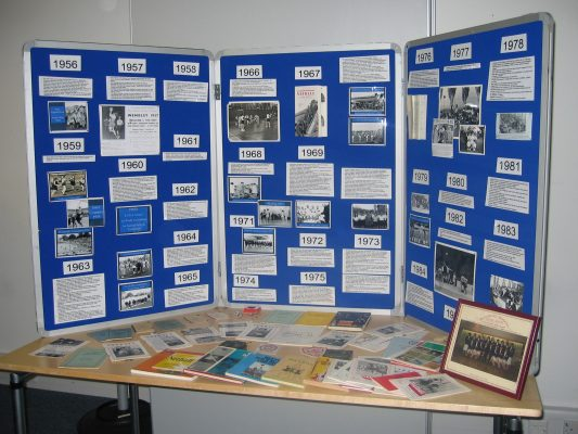 One of two display boards