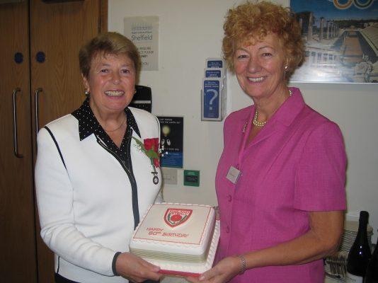 Phyllis Avery (President) with Barbara Bishop (Vice President) and the Anniversary Cake
