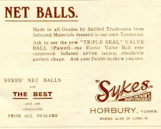 An advertisement for netballs by Sykes of Horbury in Yorkshire