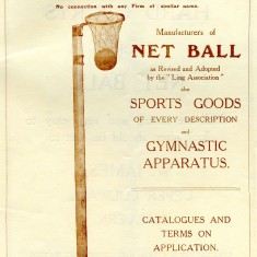 An advertisement for goal posts and other equipment by T M Gardiner of Hoddesdon