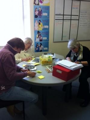 Kendra Slawinki, Jean Bourne and Jan Burke hard at work   Yvonne Bacon