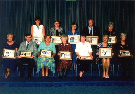 First Hall of Fame recipients - Back Row:  Kendra Slawinski, Mary Beardwood, Jean Perkins, Mr Taylor for Pat Taylor, Nora Ashworth.  Front Row:  Janet Wrighton for ????, Gordon Padley for Mary Thomas, Mary French, Joyce Haines, Sylvia Eastley, Phylis Avery for Rena Stratford,, /// for Mary Bulloch