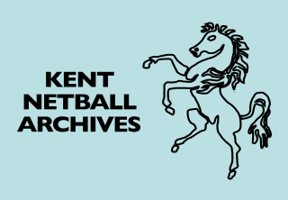 Kent Invicta horse with Kent Netball Archives text on a pale blue (Kent County's colour) background