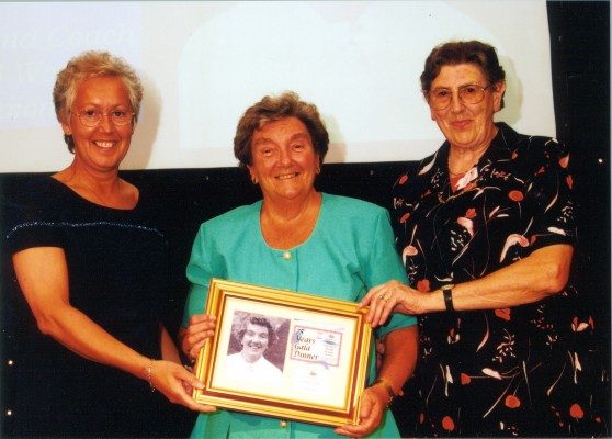 Mary French receiving HOF 2001 with Janet Wrighton (left) and June Jack (right)