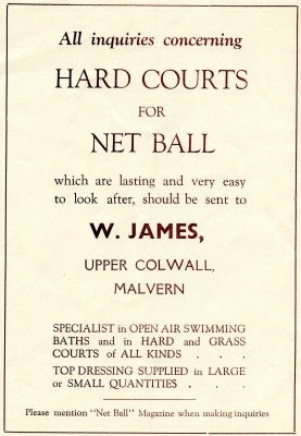 An advertisement for netball courts from the back cover of Netball magazine 1937