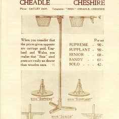 Advertisement for netball goal posts by Hargreaves of Cheshire from Netball magazine