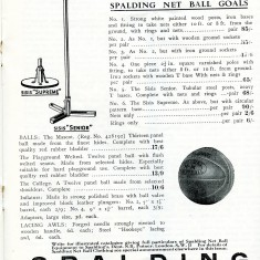 An advertisement for goal posts and netballs by Spaldings from Netball magazine 1936
