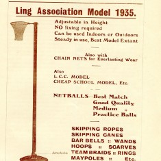 An advertisement for the Ling approved netball post 1935