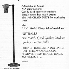 A 1936 advertisement from Net Ball magazine for a Ling approved portable net ball post