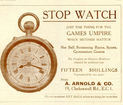 An advertisement for a stop watch for umpires