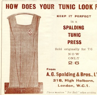 An advertisement for the Spalding Tunic press