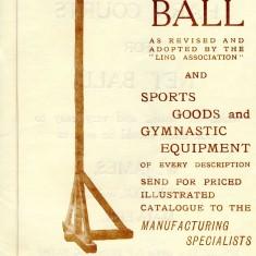 An advertisement for a wooden net ball post by T M Gardiner of Hoddesden