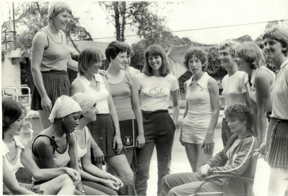 England in relaxation mode at Bretton Hall Left to right:  Gill Davies, Jean Hornsby, Margaret Ghent, Marion Lofthouse, Yvonne Richards, Madeleine Dwan, Magaret Plastow, Denise Hunter, Jillean Hipsey, Joyce Wheeler, Carol Bretherton, Pt Cane (Captain), Lesley Darby. | Trinidad Publishing Company