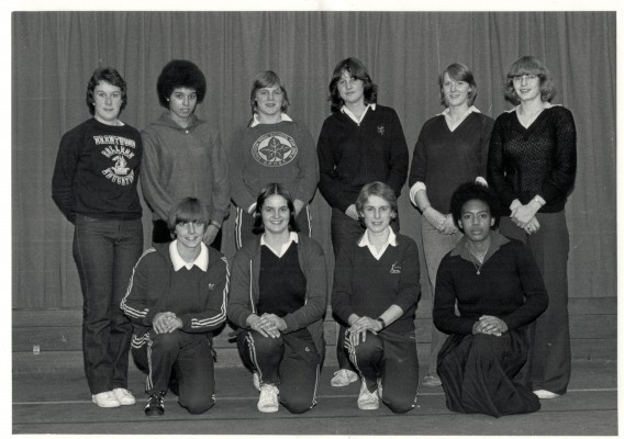 England Under 21 Squad Back row sally Williams 3rd from left Debbie Mourton front row 2nd from left.