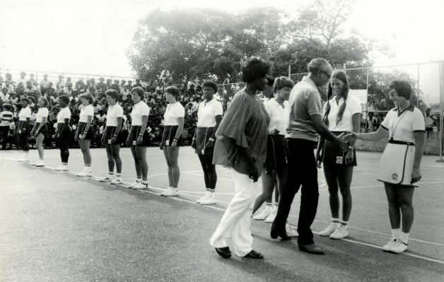 Line-up for the 1st Test Match.  Gill White introducing the England team to Mrs Barbara Jones, President Jamaican Netball Association and Mr John Hall, Chairman Carreras Sports Foundation with Heather Crouch (Coach) and Sylvia Eastley (Umpire)