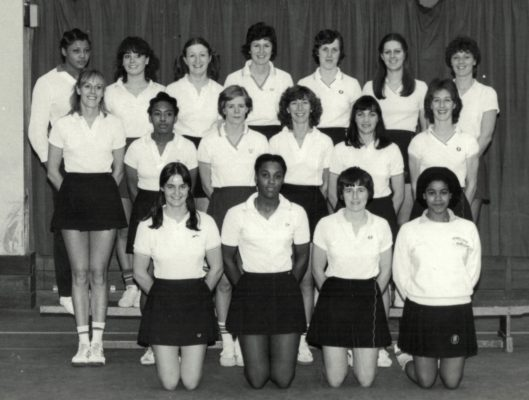 Full England selection:  Back Row left to right:  Loretta Bourne, Kim Marshall, Maggie Ghent, Chris Maylor, Maddie Dwan, Denise Hunter, Carol Bretherton.  Mid Row left to right:  Sheila Beddow, Maureen Seraphin, Colette Thomson, Jillean Hipsey (Captain), Helen Fradley, Gill Davis (VC).  Front Row left to right:  Debbie Baird, Sonia Rodney, Sue Keal, Layla Carnegie.