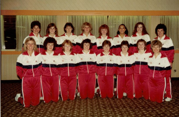 Back row - Lorna Skinner (Physio), Sharon Fogarty,Lucia Sdao, Wendy Hale, Ann Cush, V. Pratchett, Maureen Lee (Umpire) Front row - Heather Crouch (Coach)D. Lunn, Linda White, S Carrol, F Highland, S Young, Jaqui Saunders, Gerry Cornwell (Asssitant Coach)