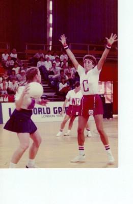 Kim Lambden defending the centre court