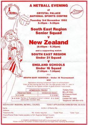 1992 SE Region v New Zealand