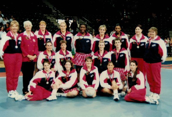 England World Championship Squad.  Back Row: Mo Collins, Megan Mead, Lyn Carpenter, Jo Zinzan, ???, Tracey Neville, Amanda Newton, Denise Egan, Mary Beardwood.  Middle Row: Natalie Andrews, Chantelle Mortimer, Lisa Stanley, Lorraine Lowe.  Front Row: Karen Atkinson, Olivia Murphy, Fiona Murtagh, Lucia Sdao, Jackie Manson