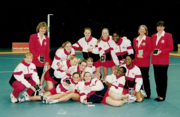 2000 England U21 Squad.  Back row left to right: Maggie Gartland, Vicky Percy, Jess Garland, Ama Agbeze, Rachael Folley, Kendra Slawinski.  Front row: Mo Collins, Karen Greig, Anna Newell, Sonis Mkoloma, Chioma Ezeogu