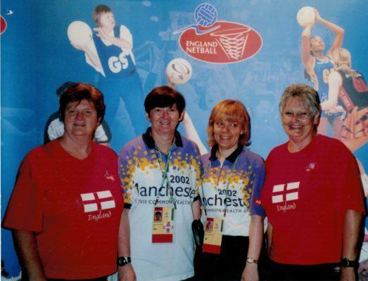 Netball staff at CWG 2002.  Jean Pinion, Sheelagh Redpath, Sherree Rose, Jan Burke.