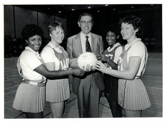 Manager of Barclays Bank Luton Branch, Mr David Rush, hands over a cheque for £600 to local players Sonia Jessop, Ann Reed, Louisa Noel and Georgina Pallett December 1981