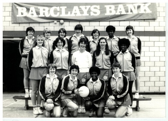 CENTEX Squad Squad which performed a display as part of an East Region Spotlight on Netball, April 1982.  They appeared on the same billing as The ROOS v East Region and the Harlow League Clubs Final.