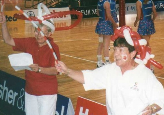 Cheer leaders in Christchurch, New Zealand, for the 1999 World Champs. Les Jones and Maureen Lee.