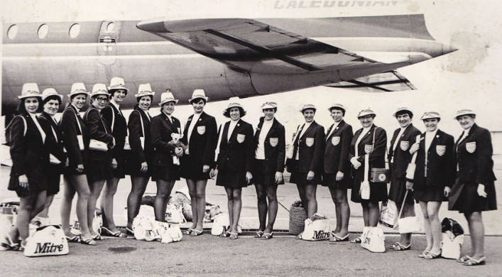 Image of the full England Squad about to fly to Kingston Jamaica