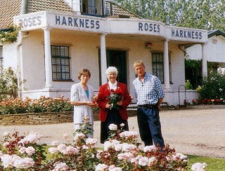 President Pat Taylor, Chief Executive, Liz Nicholls and Robert Harkness outside the Harkness Roses offices in Hitchin.