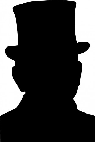 Silhouette of a man in a top hat