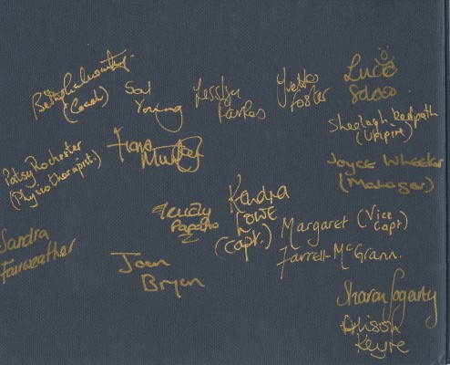 England team members autographs from the 1991 World Netball Championships | England Netball