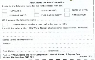 The competition form to name the new rose