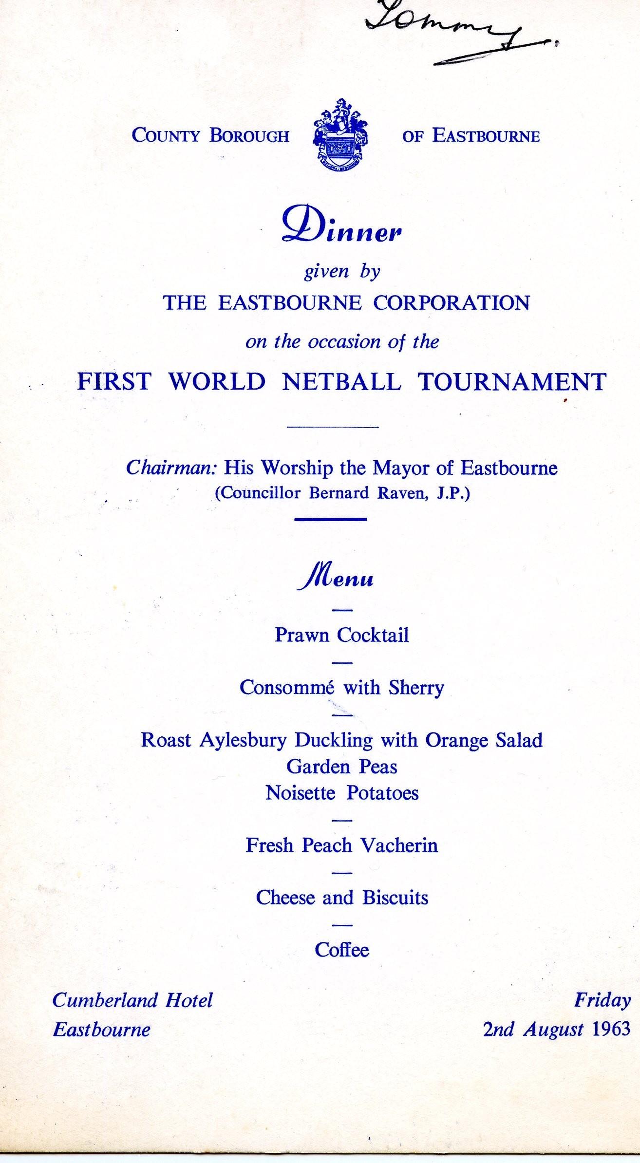 1963 a formal dinner for the first netball world tournament world