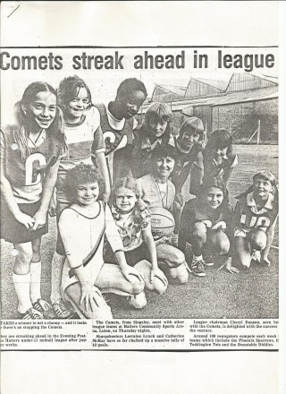 A newspaper article about the Comets junior netball team from Stopsley