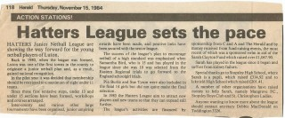 A newspaper article from 1984 about the Hatters Junior Netball League.