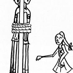 Cartoon showing a shooter with both defence players tied to the goal post