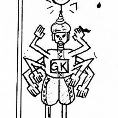 Cartoon showing a 6 armed goal keeper with the caption 'What is the ruling?'