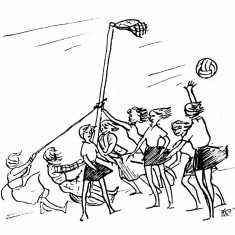 Cartoon showing several players holding up the goal post in very windy weather