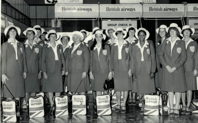 England contingent  Back Row: Chris Maylor, Pat Watson, Mary French, Jean Robinson, Pat Cane, Madeleine Dwan, Pat Taylor (hidden), Denise Hunter.  Front Row:  Gill Davies, Anne Stephenson, Sue Keal, Lily McGurk, Helen Fradley, Colette Reeder, Jean Hornsby, Margaret Ghent, Jillean Hipsey