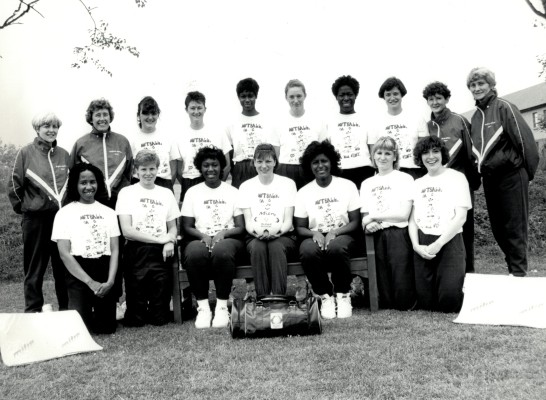 England Squad Back Row – Patsy Rochester (physio), Betty Galsworthy, Fiona Murtagh, Sally Young, Jesslyn Parkes, Tracey Horton, Yvette Foster, Lucia Sdao, Sheelagh Redpath, Joyce Wheeler Front Row – Sandra Fairweather, Jane Carter, Trudy Papafio, Kendra Slawinski, Maggie Farrell, Sharon Fogarty, Alison Keyte