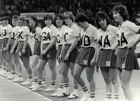 The England line-up at Wembley - left to right - ??, Kendra Lowe, Maddy Dwan, Yvonne Woodhouse, Denise Hunter, Rown Edbrooke, Kim Lambden, Collette Thompson,  Sue Keal, Helen Fradley, Jillean Hipsey Captain.